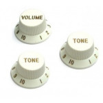 Fender Knobs Set, Volume+2x Tone, Strat, White